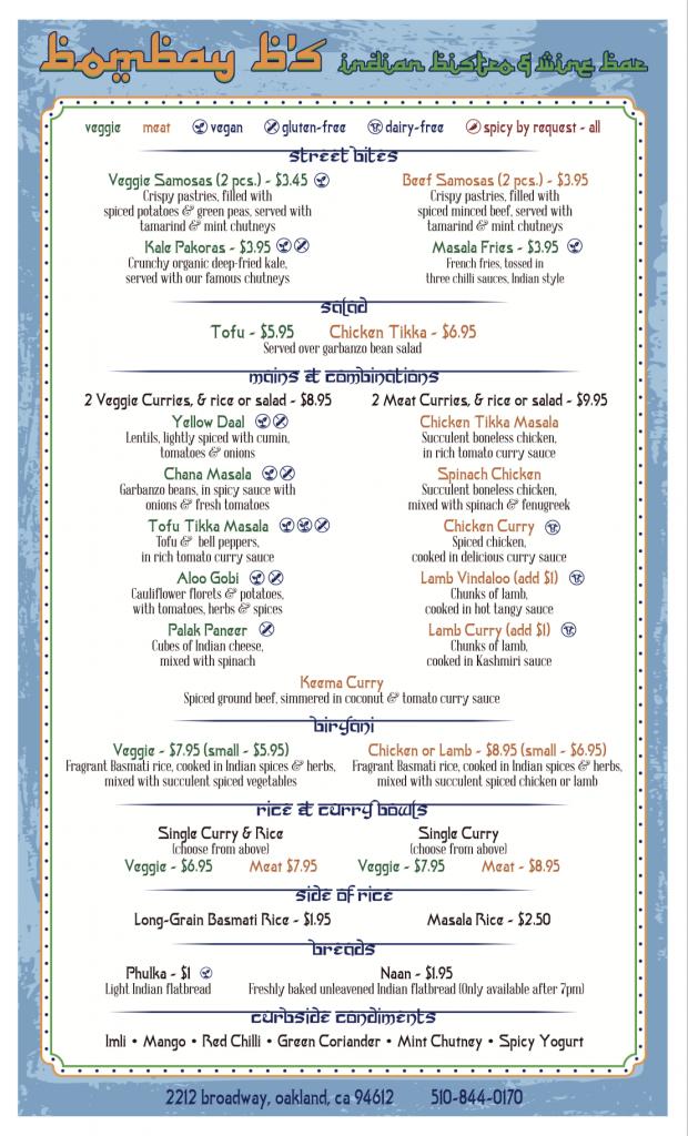 bombay menu preview